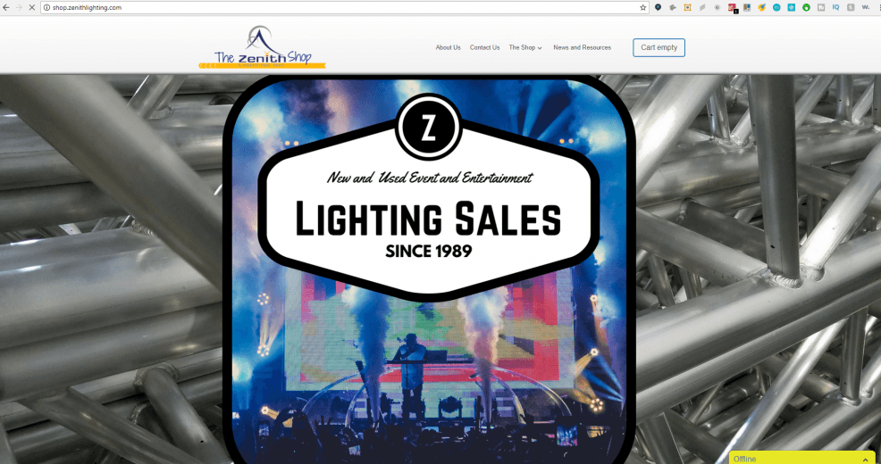 zenith lighting shop front page graphic