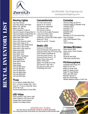 Zenith Lighting Rental Inventory One Page Thumbnail